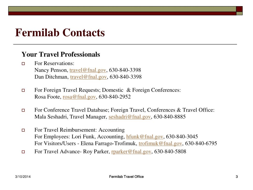 Fermilab Contacts
