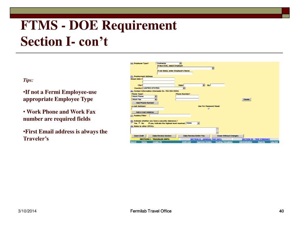 FTMS - DOE Requirement