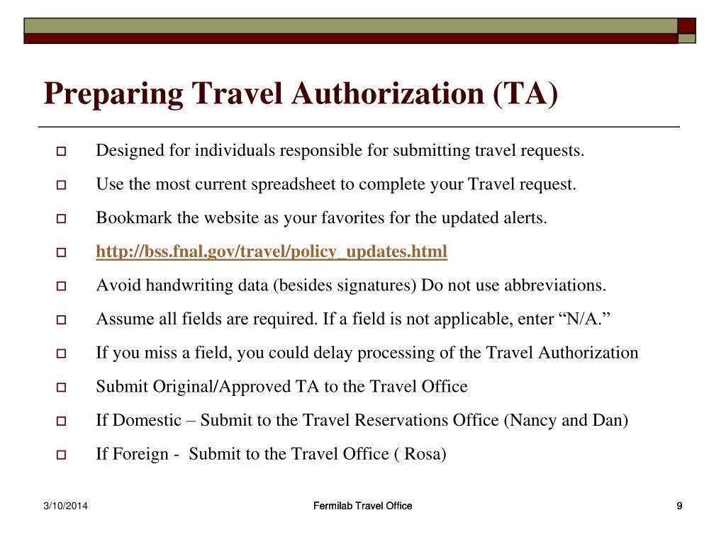 Preparing Travel Authorization (TA)
