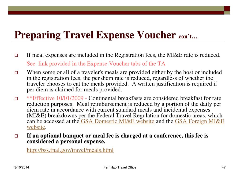 Preparing Travel Expense Voucher