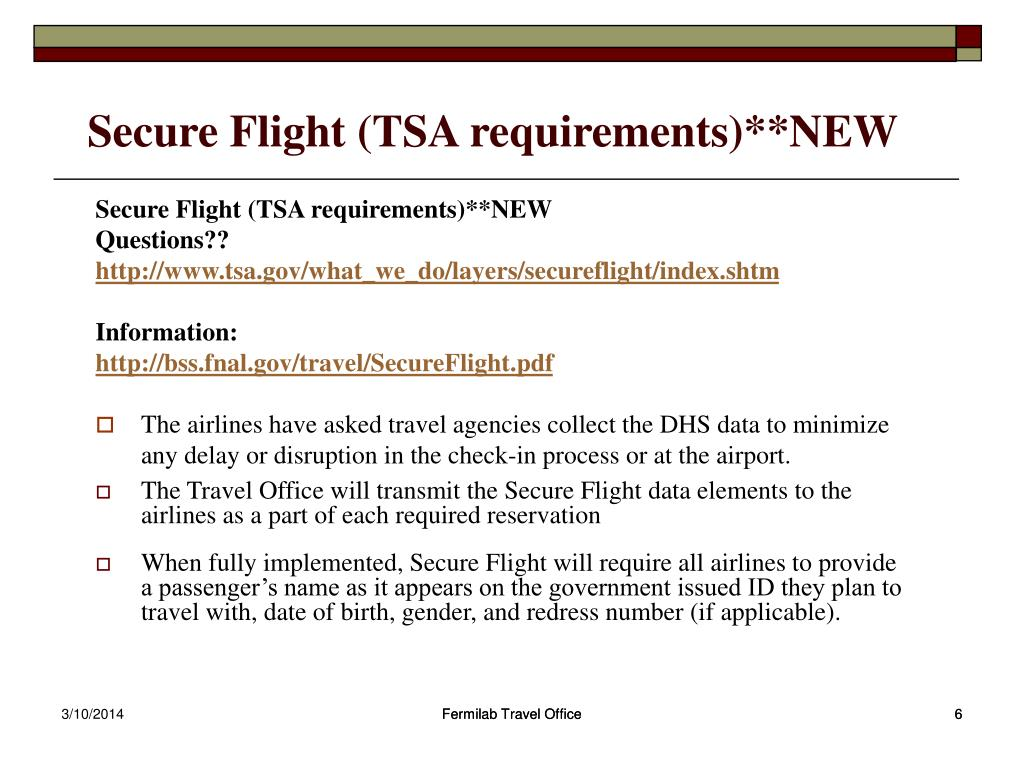 Secure Flight (TSA requirements)**NEW