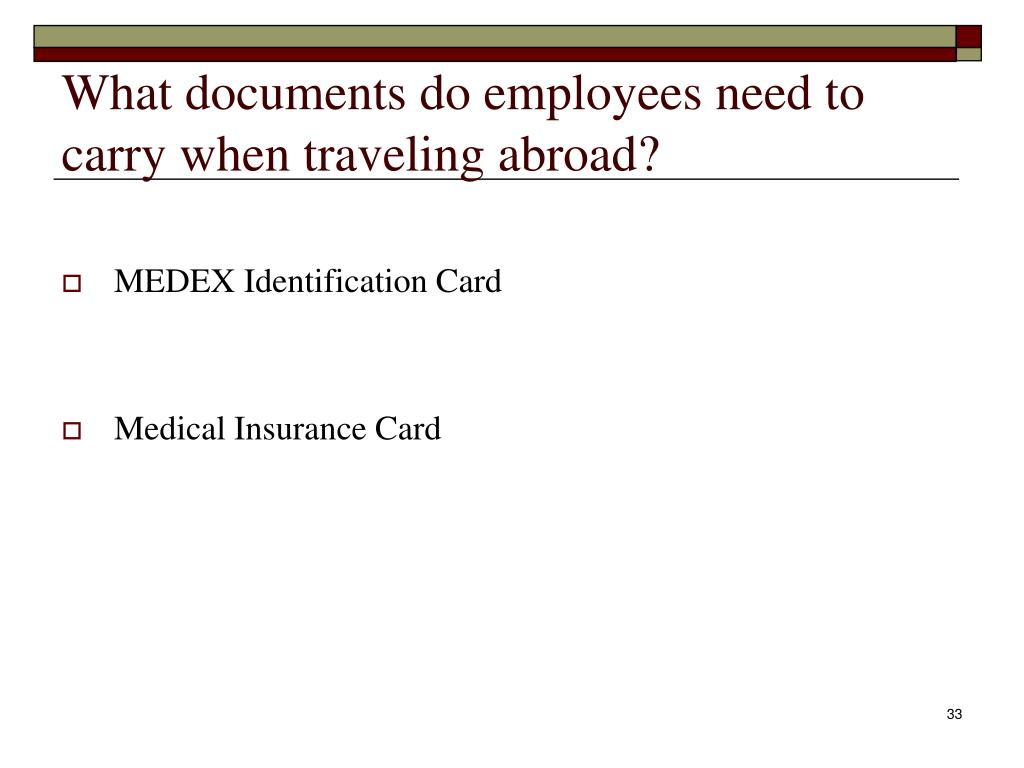 What documents do employees need to carry when traveling abroad?