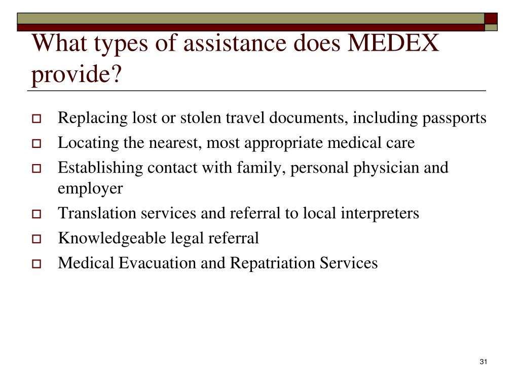 What types of assistance does MEDEX provide?