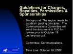 guidelines for charges royalties permissions sponsorships