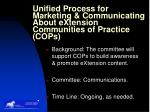 unified process for marketing communicating about extension communities of practice cops