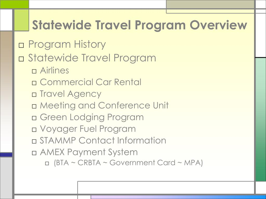 Statewide Travel Program Overview