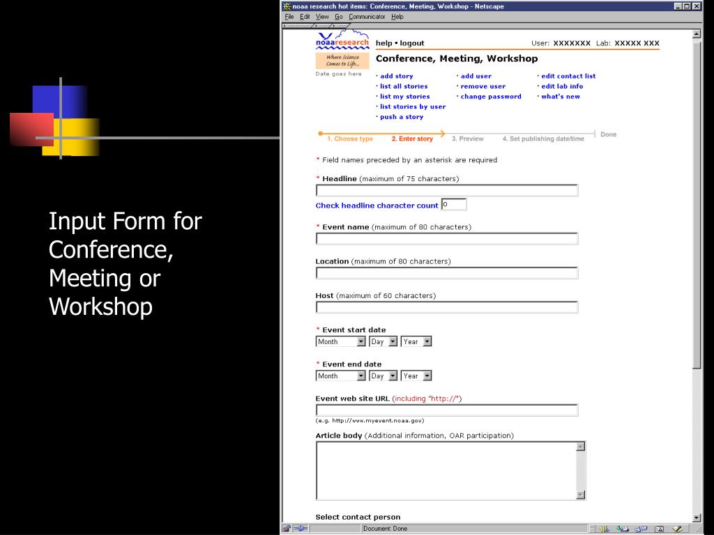 Input Form for Conference, Meeting or Workshop