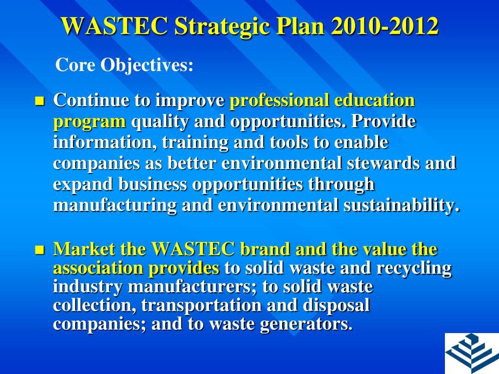 WASTEC Strategic Plan 2010-2012