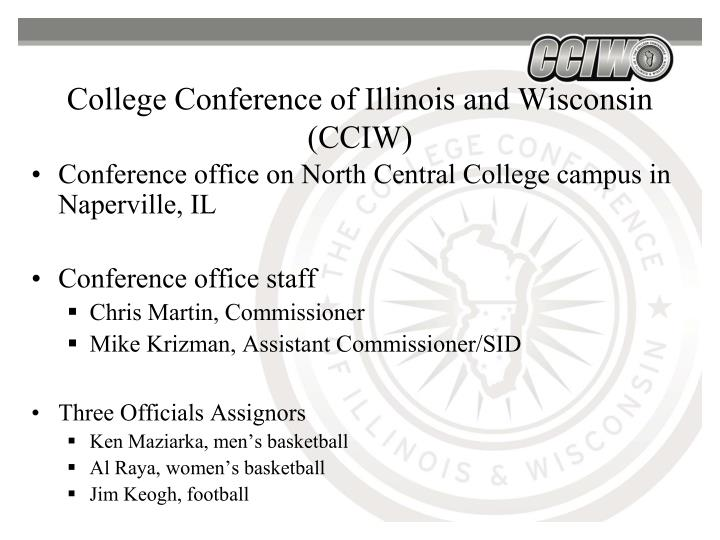 College conference of illinois and wisconsin cciw