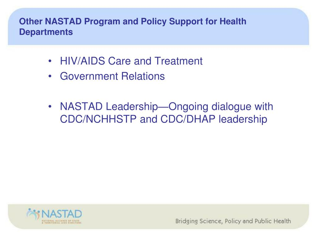 Other NASTAD Program and Policy Support for Health Departments