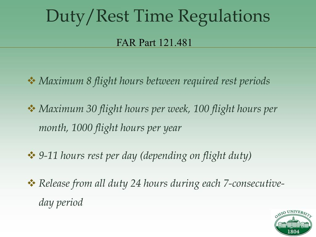 Duty/Rest Time Regulations