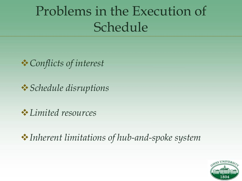 Problems in the Execution of Schedule