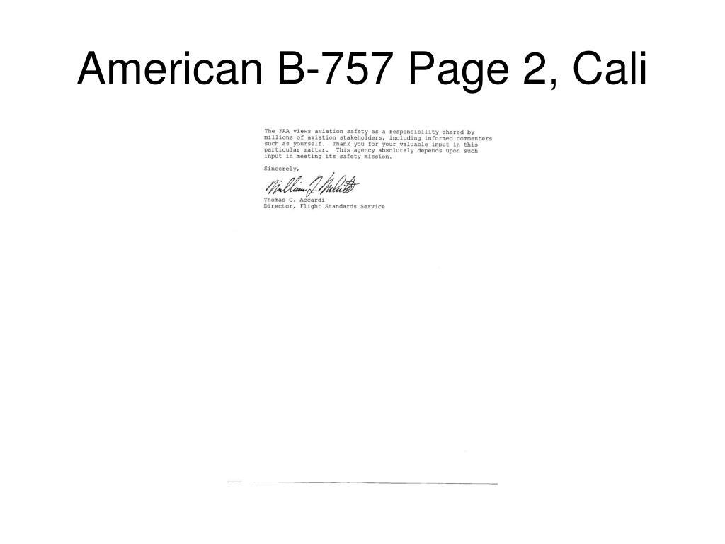 American B-757 Page 2, Cali