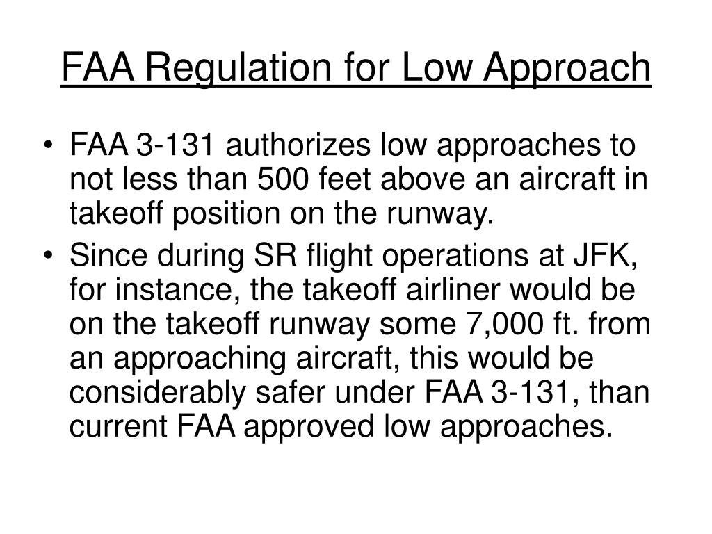 FAA Regulation for Low Approach