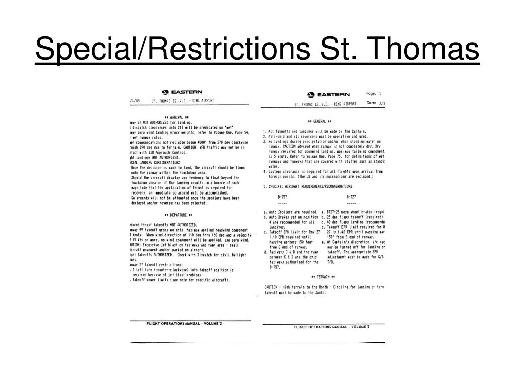 Special/Restrictions St. Thomas