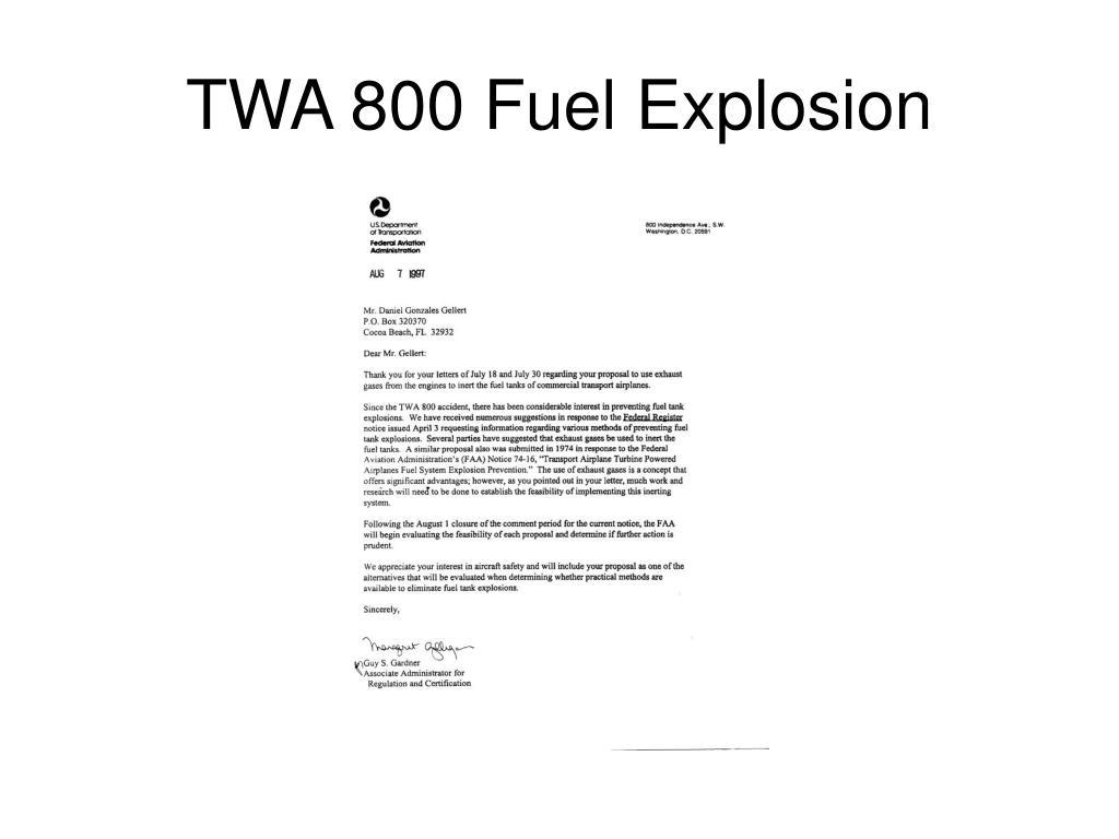 TWA 800 Fuel Explosion