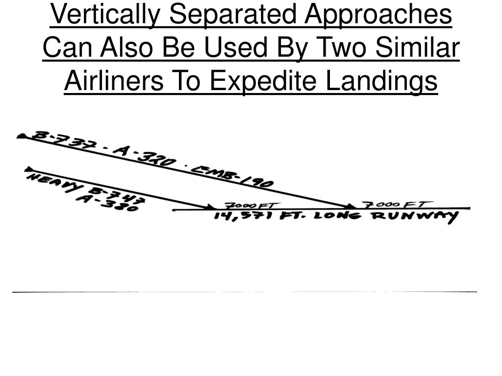Vertically Separated Approaches Can Also Be Used By Two Similar Airliners To Expedite Landings