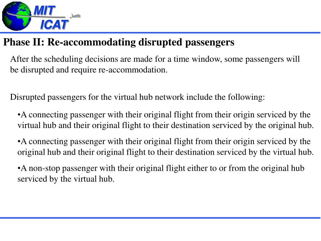Phase II: Re-accommodating disrupted passengers