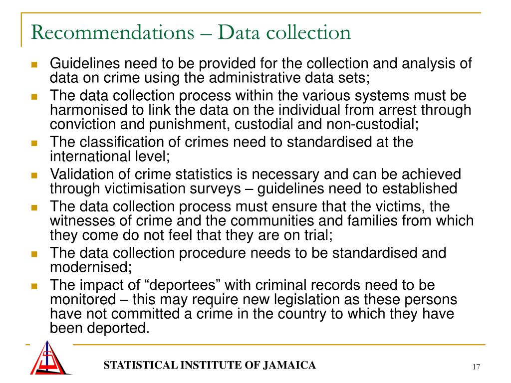 Recommendations – Data collection