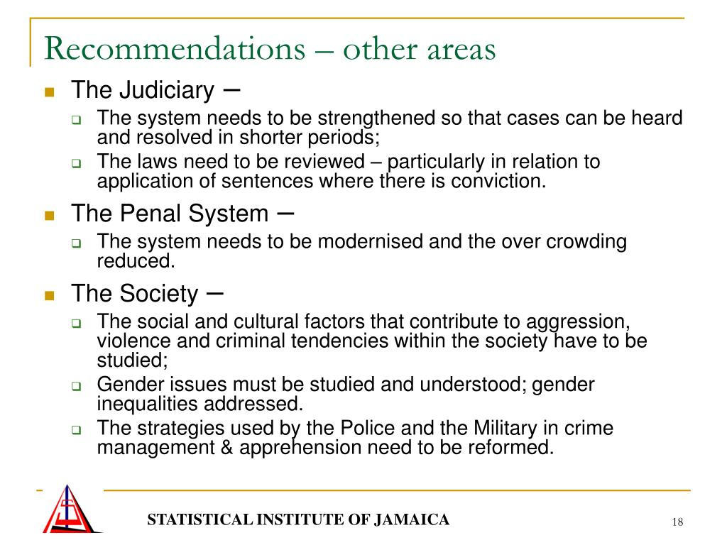 Recommendations – other areas