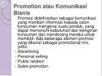promotion atau komunikasi bisnis