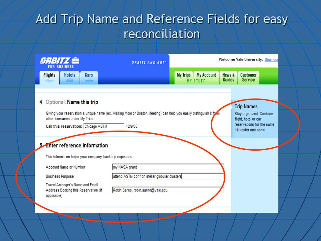 Add Trip Name and Reference Fields for easy reconciliation