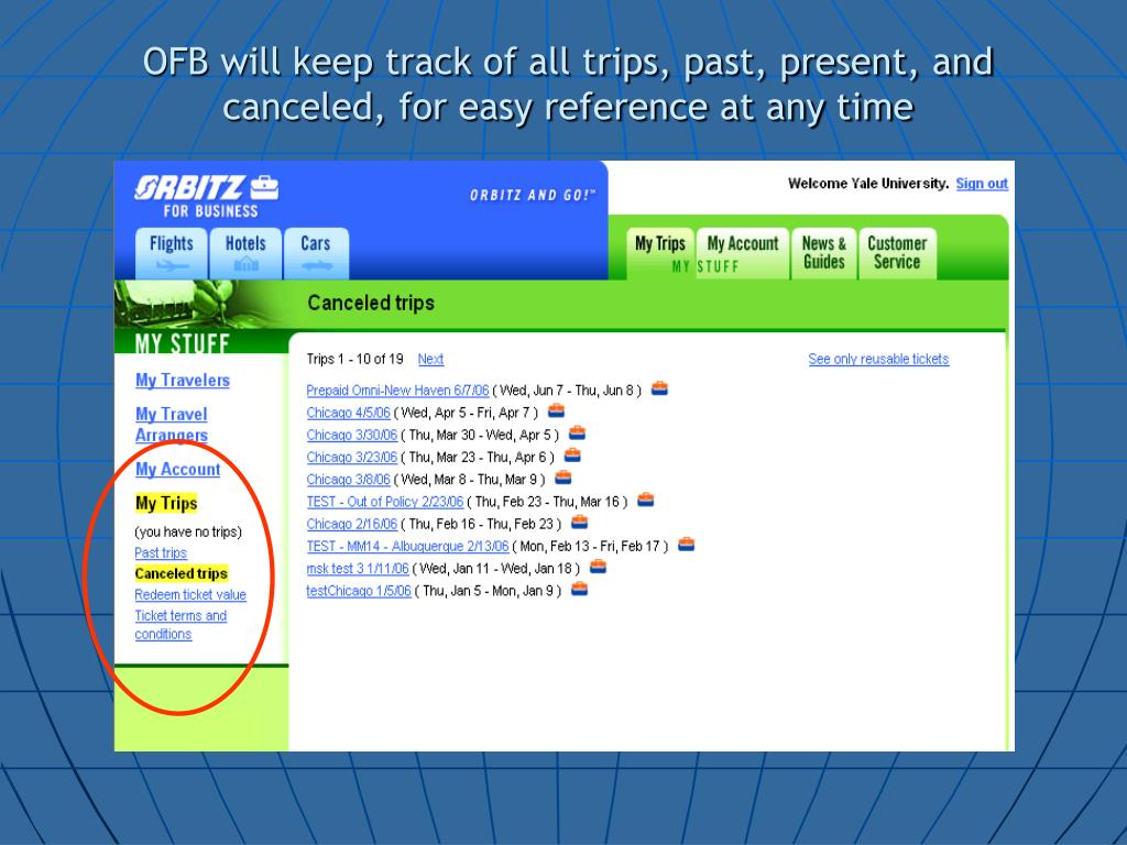 OFB will keep track of all trips, past, present, and canceled, for easy reference at any time