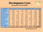 development costs projected costs in 1000