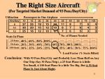 the right size aircraft for targeted market demand of 93 pass day city