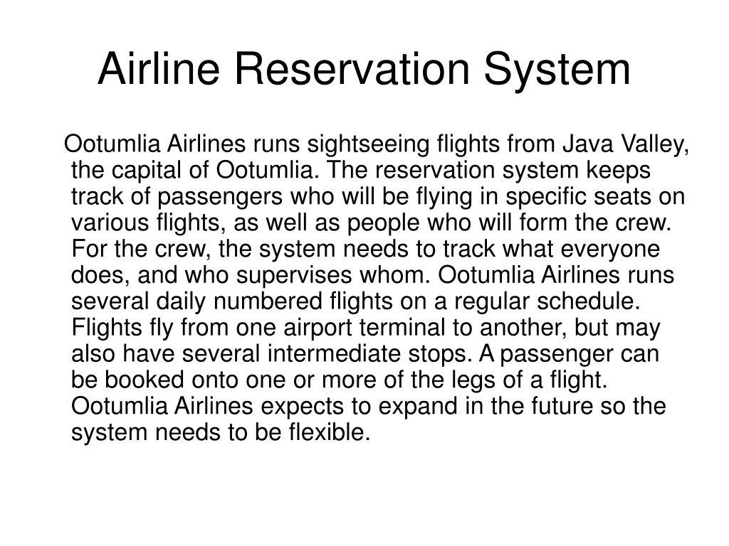 airline reservation system l.