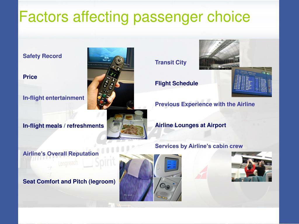 Factors affecting passenger choice
