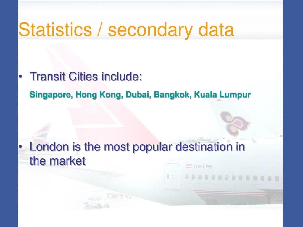 Statistics / secondary data