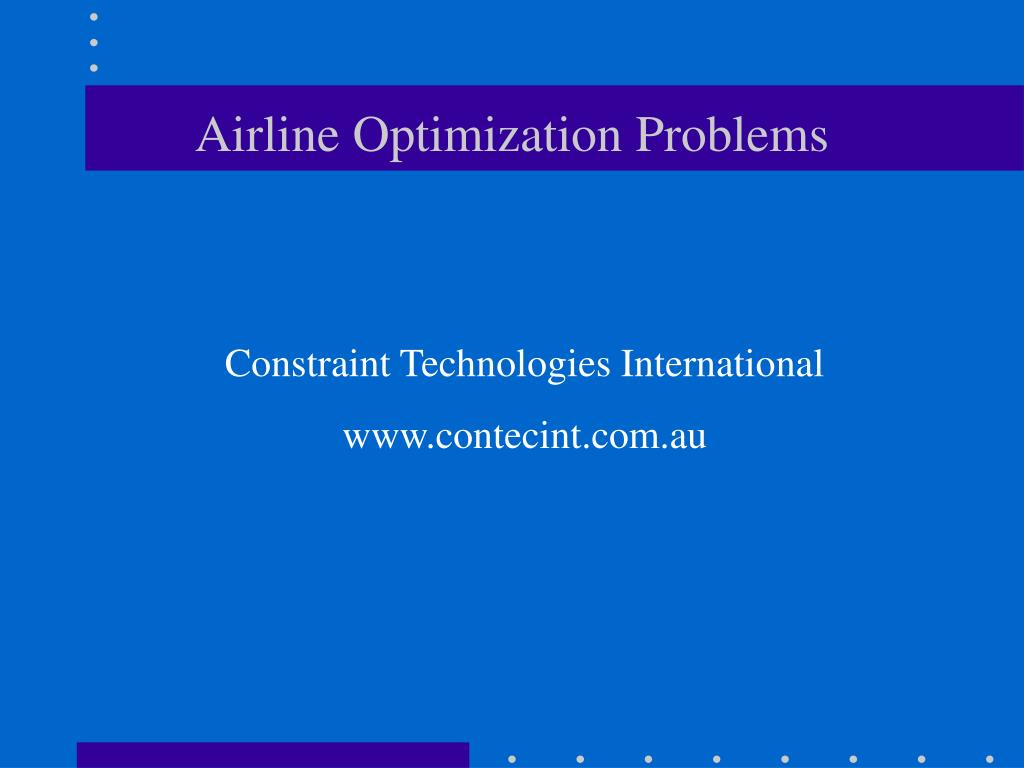 airline optimization problems l.