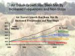 air travel growth has been met by increased frequencies and non stops