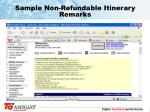 sample non refundable itinerary remarks