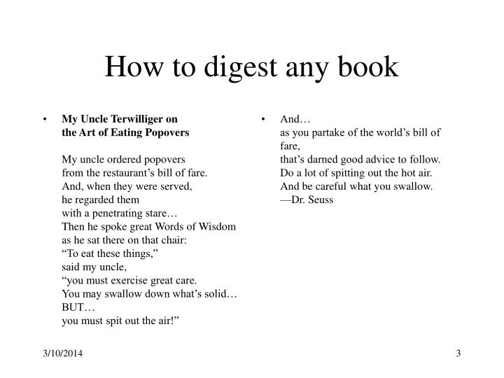 How to digest any book