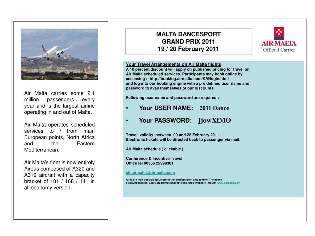 Your Travel Arrangements on Air Malta flights