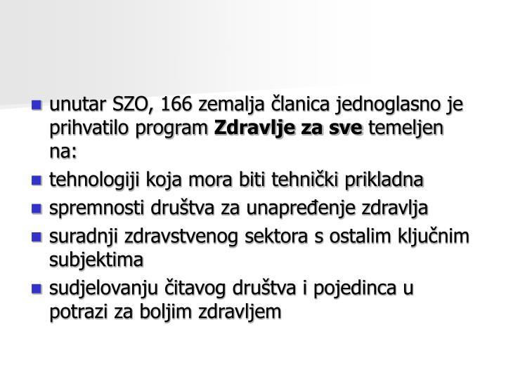 unutar SZO, 166 zemalja članica jednoglasno je prihvatilo program