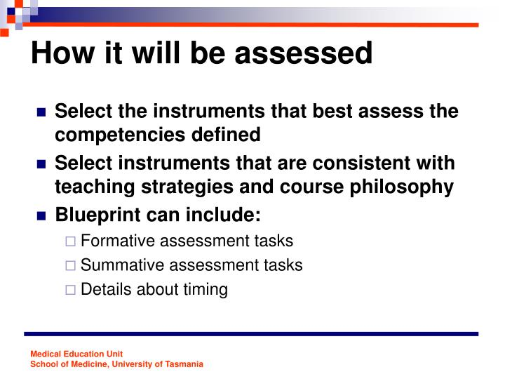Ppt quality assessment the blueprinting approach powerpoint how it will be assessed malvernweather Choice Image