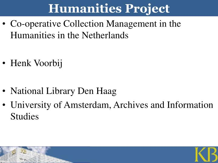 humanities project n.