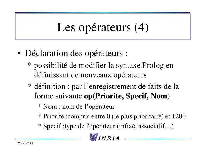 Les opérateurs (4)