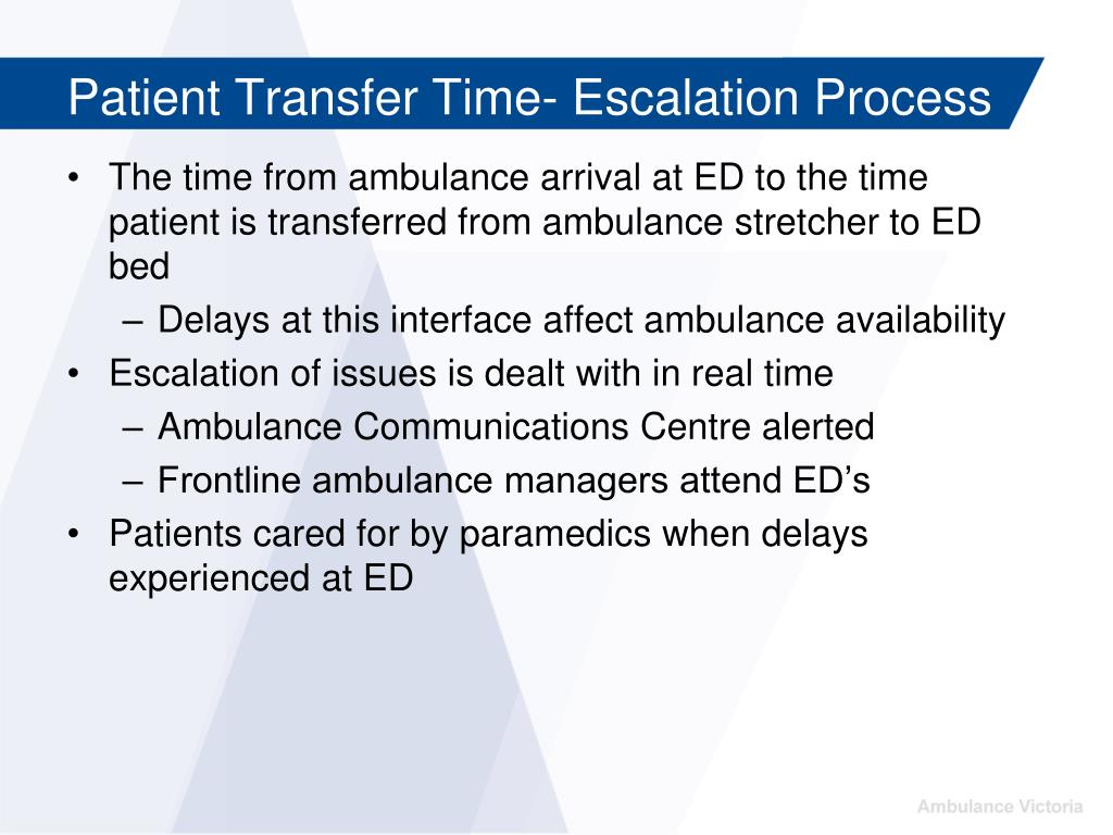 Patient Transfer Time- Escalation Process