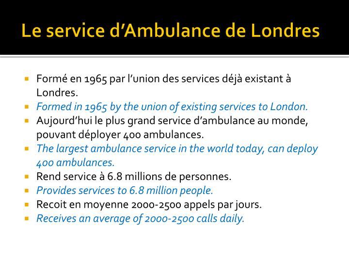 Le service d ambulance de londres