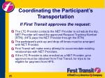 coordinating the participant s transportation