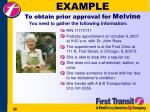 example to obtain prior approval for melvine