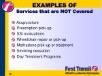 examples of services that are not covered