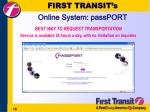 first transit s online system passport