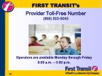 first transit s provider toll free number 866 503 9040