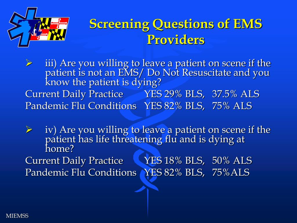 Screening Questions of EMS Providers
