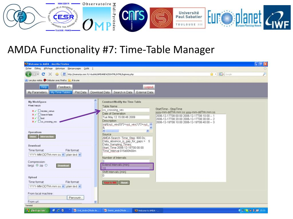 AMDA Functionality #7: Time-Table Manager